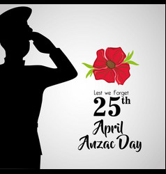 Soldier with hat to anzac day memory vector