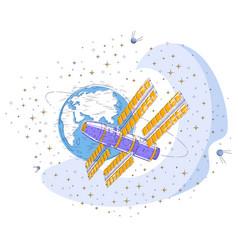 Space station flying orbital flight around earth vector