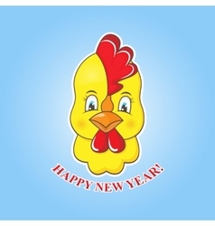 Sticker yellow chick on a blue background vector