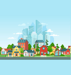 suburban landscape urban architecture small and vector image