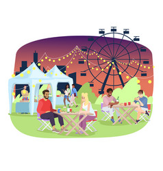 summer night fair flat amusement park funfair vector image