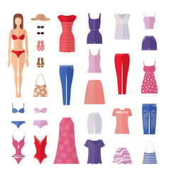 summer set of women clothes icons in flat style vector image