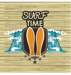 Surf time card vector