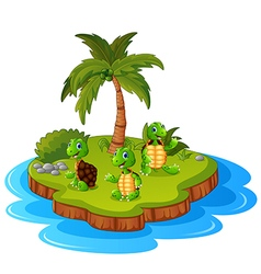 Tropical island with turtle vector