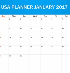 USA Planner blank for January 2017 Scheduler vector