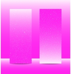 Vertical pinkrectangle banners snow winter vector