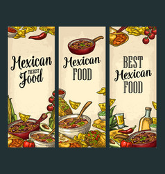 Vertical poster with mexican traditional food vector