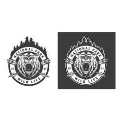 vintage monochrome national park round emblem vector image