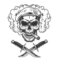 Vintage skull in navy seal beret vector