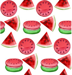 watermelon macaroons pattern fresh and vector image