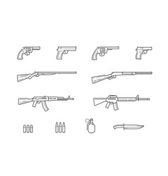 Weapon and gun set icons firearms vector