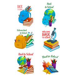 welcome back to school icon for education design vector image