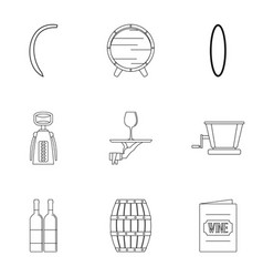 Wine tradition icon set outline style vector