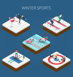 Winter sports isometric composition vector