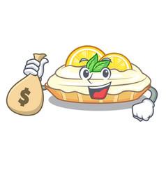 With money bag cartoon lemon cake with sugar vector