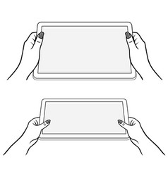 Womans hands keeps tablet vector