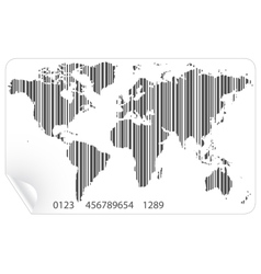 World map in the barcode concept vector