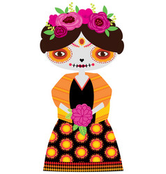 Yellow catrina doll vector