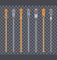 zipper strips transparent set vector image