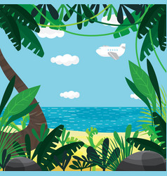 about summer beach plants sea sky vector image