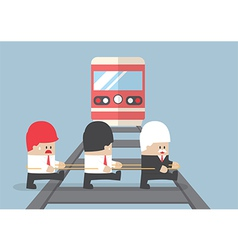 Business leader crossing railroad vector image vector image