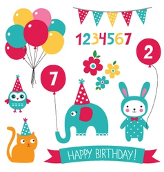Kid birthday set vector image
