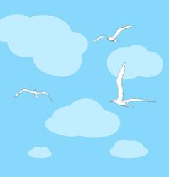 Sea gulls soar in the sky vector