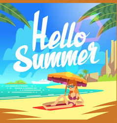 summer holiday background with sea beach vector image vector image