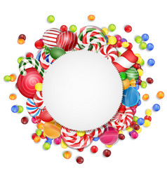sweets background with frame candies vector image