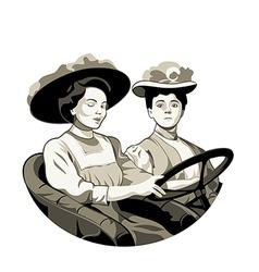 Vintage driving women vector image vector image
