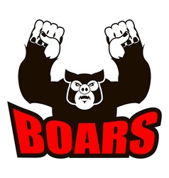boars logo for sports team Angry pig Aggressive vector image