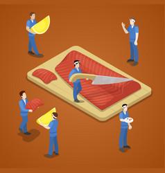miniature people slicing salmon fish sea food vector image vector image