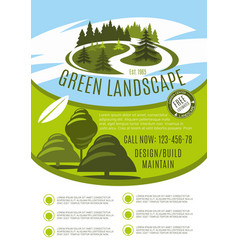 Poster for green landscape design company vector