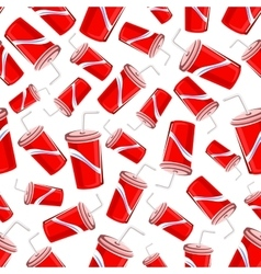 Seamless pattern of fast food soda paper cups vector image