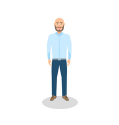 bald man casual dressed vector image