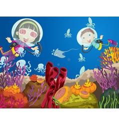 Children diving vector image vector image