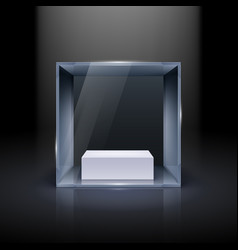 glass showcase in cube form for presentation on vector image vector image