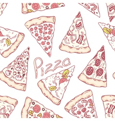 Hand drawn different pizza slices seamless pattern vector image vector image