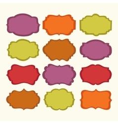 set colorful vintage labels and frames vector image