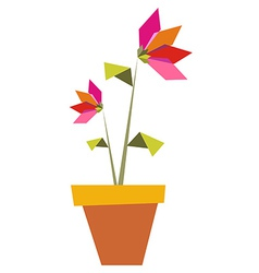 Two Origami vibrant colors flowers vector image