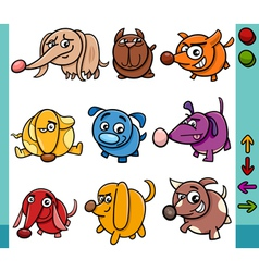 Dogs game characters cartoon vector