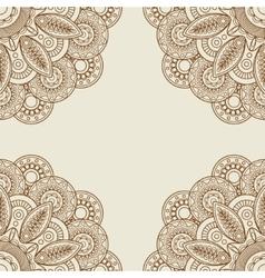 Doodle boho floral henna tattoo frame vector image