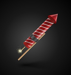 Firework rocket isolated on black background vector image vector image