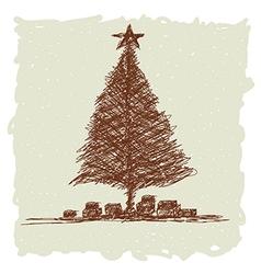 hand drawn of vintage christmas tree vector image