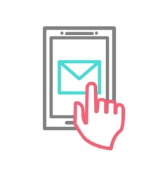 Hand touching smart phone with Email symbol on the vector image vector image