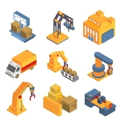 Isometric Factory Flowchart with Robotic Machinery vector image