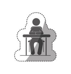 sticker black silhouette pictogram sit in desk vector image