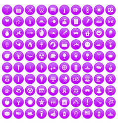 100 summer holidays icons set purple vector