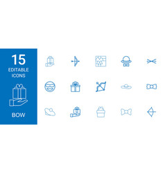 15 bow icons vector