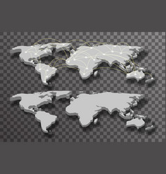 3d world map shadow light connections transparent vector